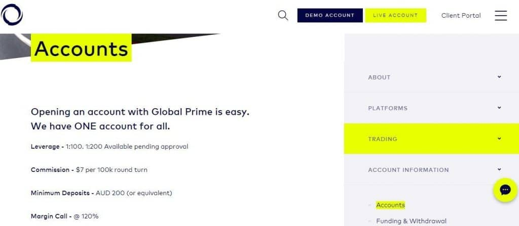 Global Prime Australia broker account