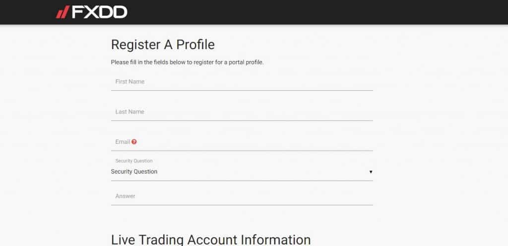 FXDD Forex Broker trading account