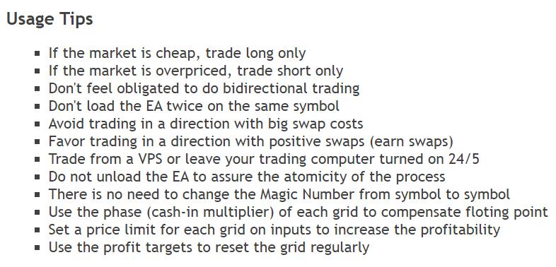PZ Grid Trading EA usage tips