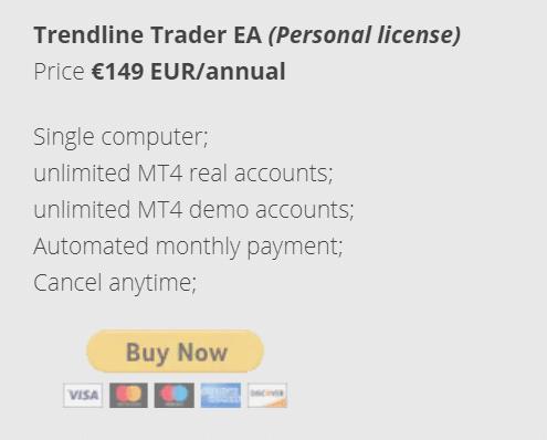Trendline Trader EA chart offer