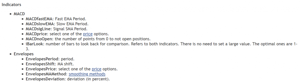 MACD Trader Robot list of indicators