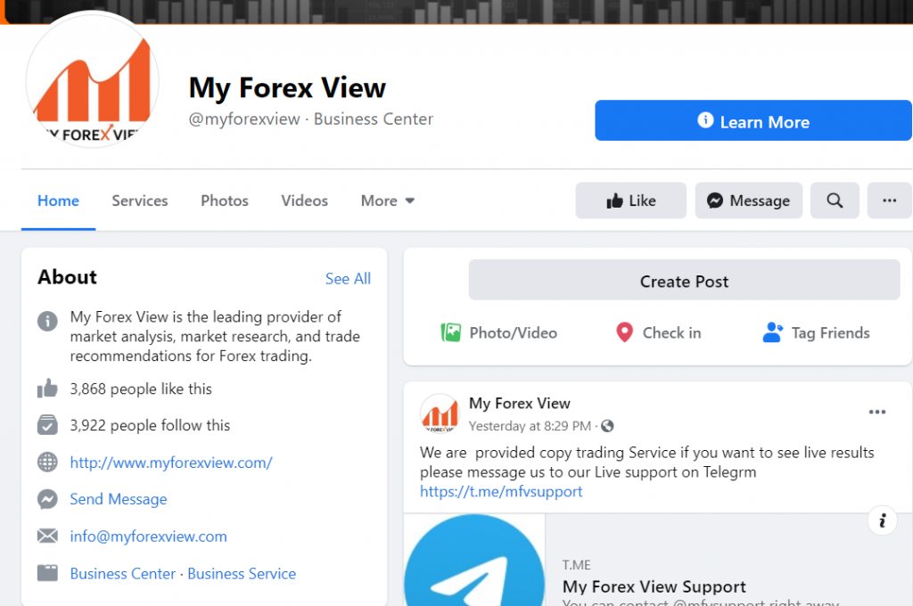 My Forex View Social Network pages