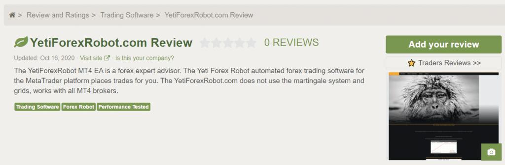 Yeti Forex Robot People's feedback