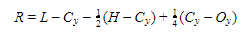 If the value of L-Cy is highest, then R is calculated as follows: