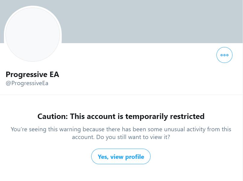 Progressive EA Twitter account