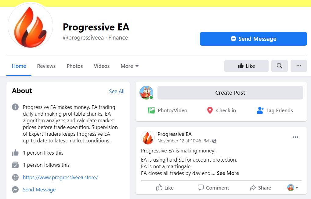 Progressive EA FB page