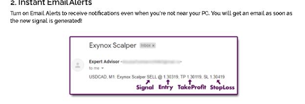 Exynox Scalper email alerts
