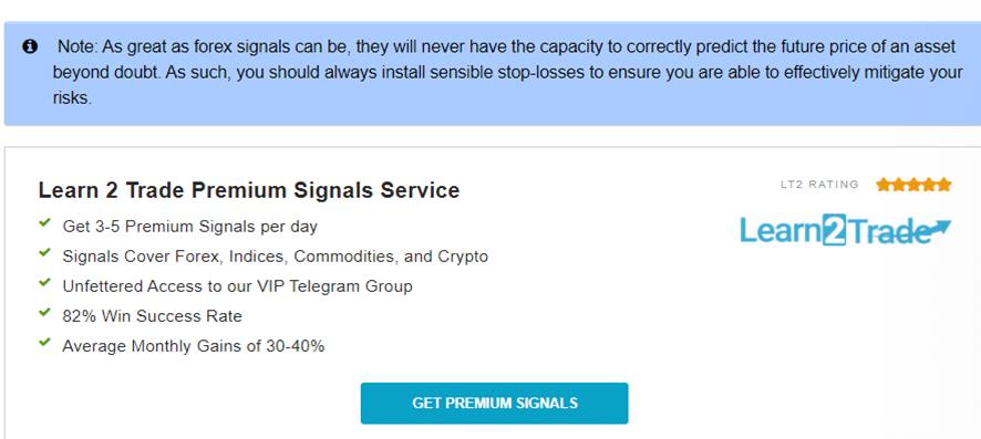 Learn 2 Trade premium signals service