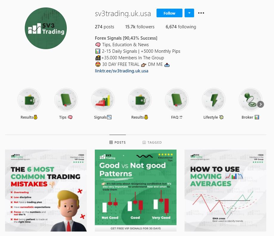 SV3 Trading Instagram account