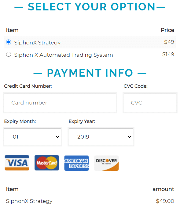 Siphon-X payment