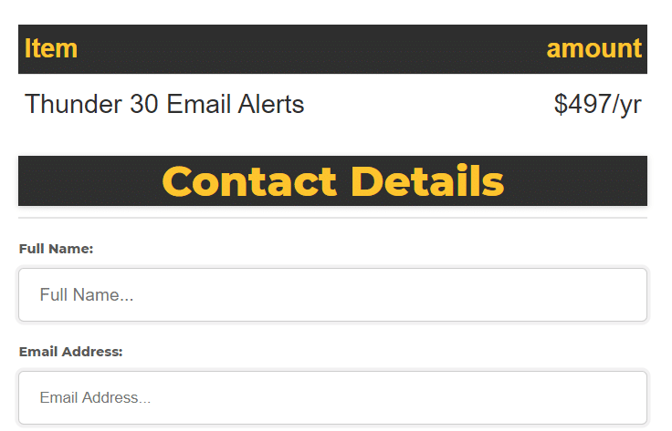 Thunder 30 Signals email alerts