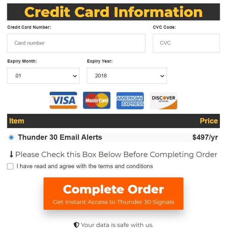 Thunder 30 Signals - credit card information