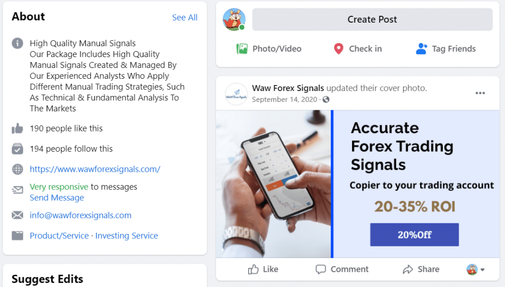 Waw Forex Signals Facebook page