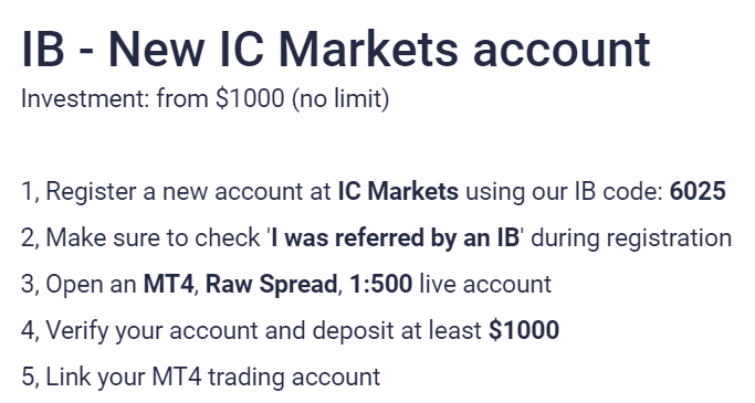 NCM Signals. We have to proceed with the registration on IC Markets using their referral code