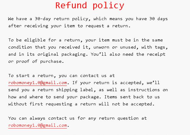 R0B0.1 Forex Expert Advisor. Refund policy