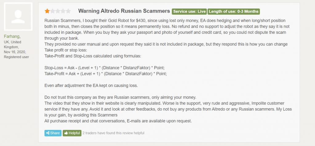 Altredo Forex Robots Customer Reviews